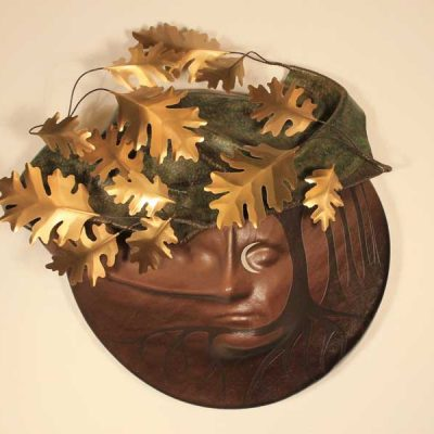 Leather with Brass Oak Leaves