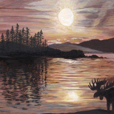 Moose and a Sundog Sky