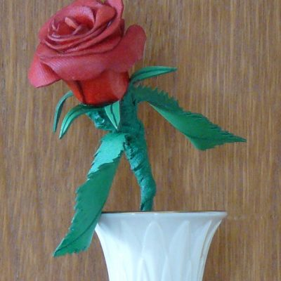 Leather Rose in vase