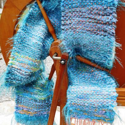 Bamboo Acrylic Scarf on spinning wheel