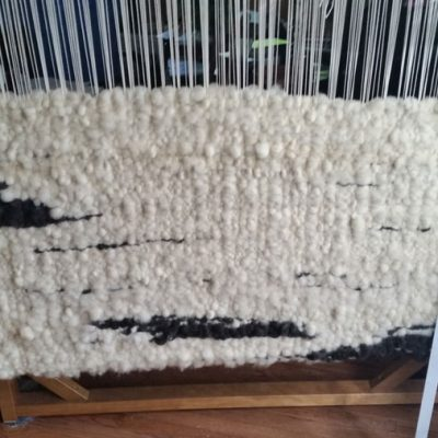 Raw Wool Rug on tapestry loom