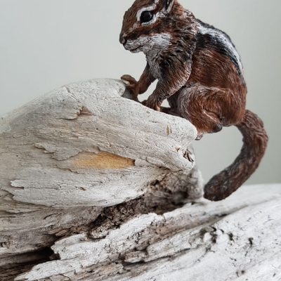 Sculpted Chipmunk on Driftwwod